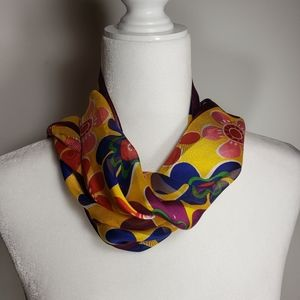 Brightly Colored Flower Print Scarf